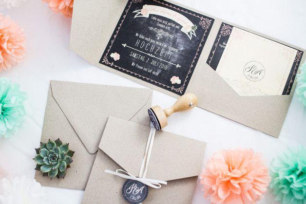 Einladungskarten   Vintage Pocketfold Einladung Schiefer   Ein  Designerstück Von HERZ Blatt Com Bei DaWanda