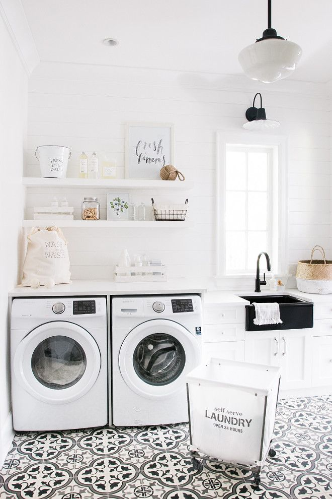 I Really Like The Light Above The Sink And The Patterned Tile Is A Fun Statement In An Otherwise Plain White Laundry Rooms Laundry Room Tile Laundry Mud Room
