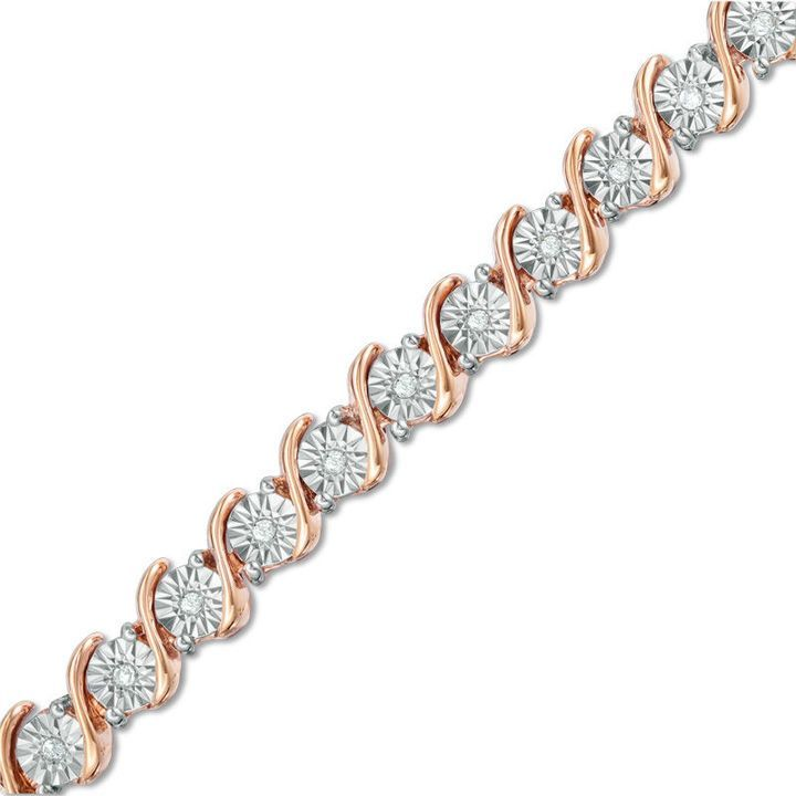 1 4 Ct T W Diamond S Tennis Bracelet In Sterling Silver With 14k Rose Gold Plate 7 25 Zales Diamond Bracelet Design Black Hills Gold Jewelry Bracelets Gold Diamond