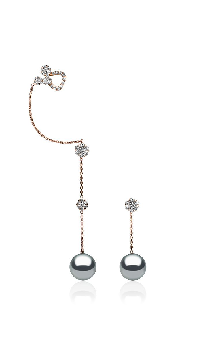 18 K Rose Gold Cultured Pearl Diamond Ear Cuff by YOKO LONDON for