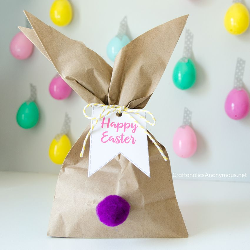 Easter bunny gift bags with free printable tags easter crafts easter bunny gift bags with free printable tags negle Images