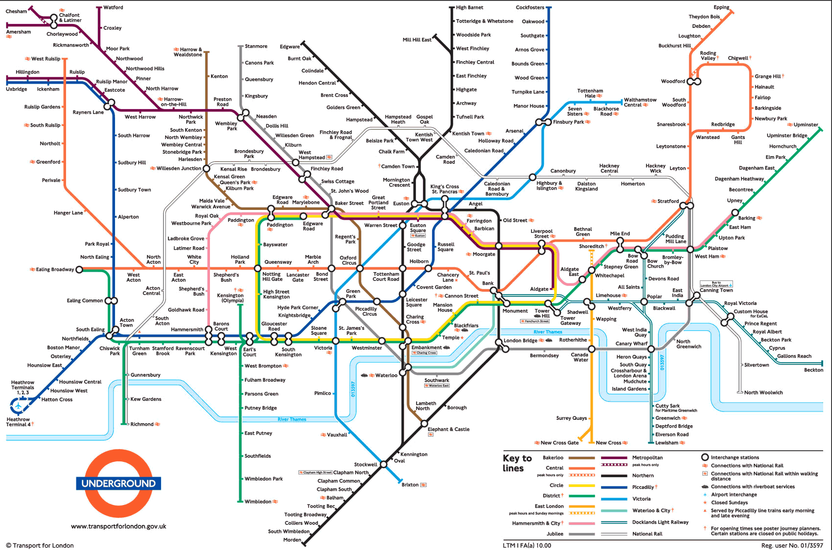 Large view of the standard London Underground map  This is
