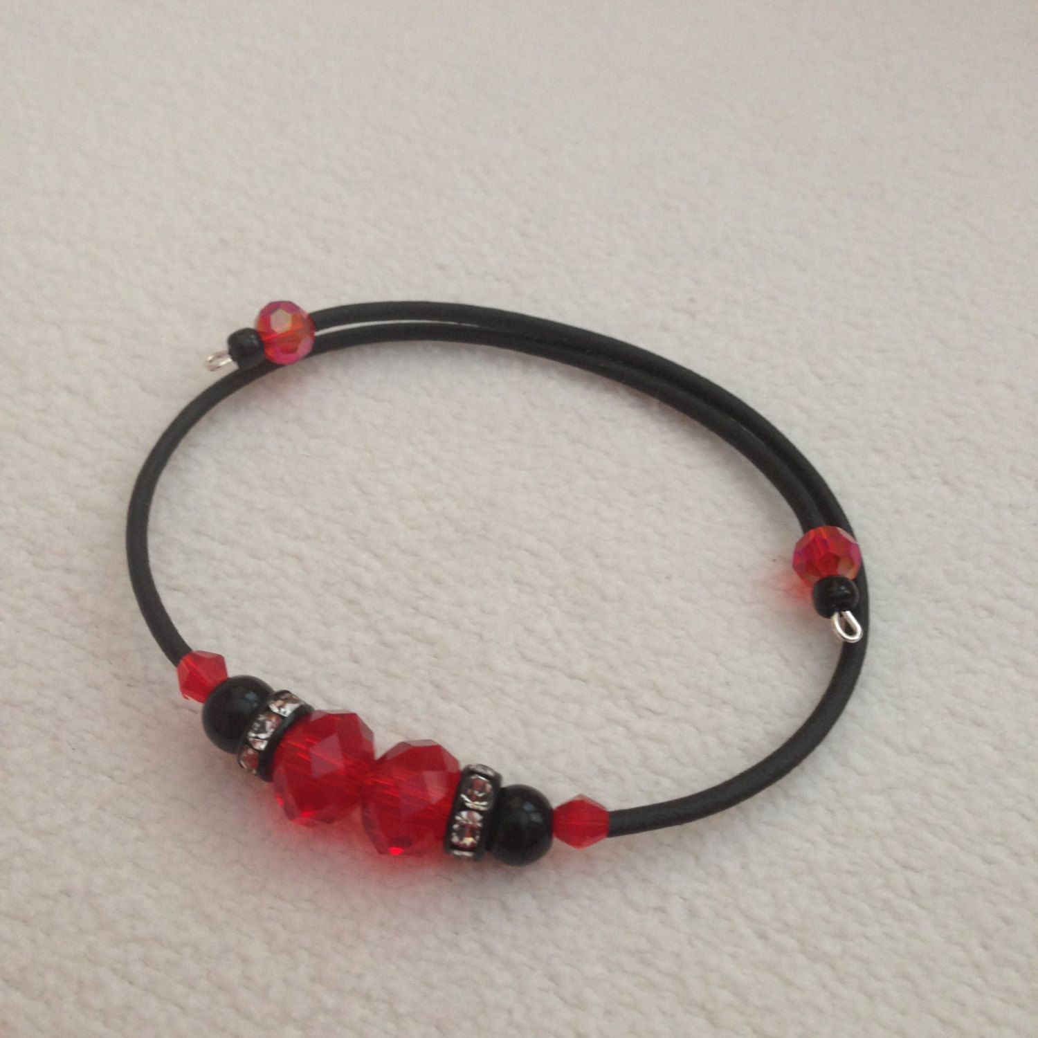 Double Red Crystal Beads bracelet by CCMExpressions on Etsy