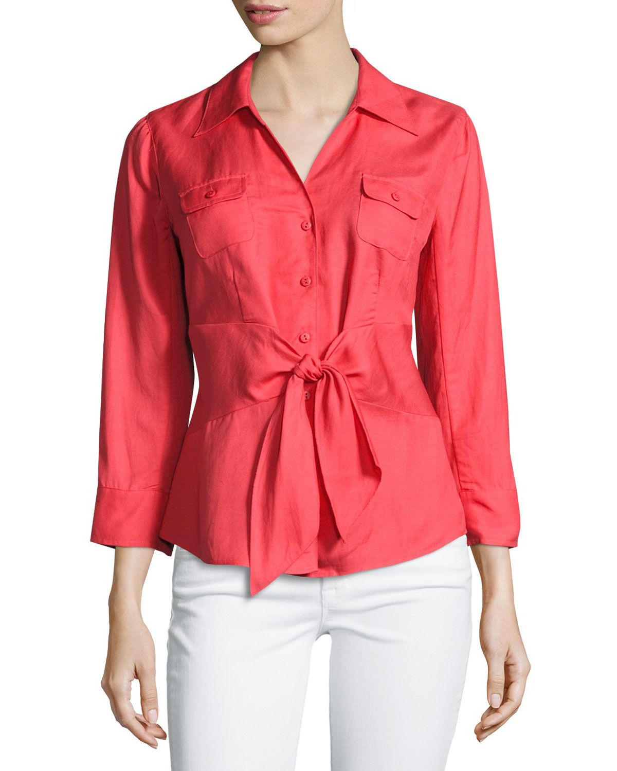 NIC+ZOE Drapey Tie-Front Top, Spiced Rose, Spr