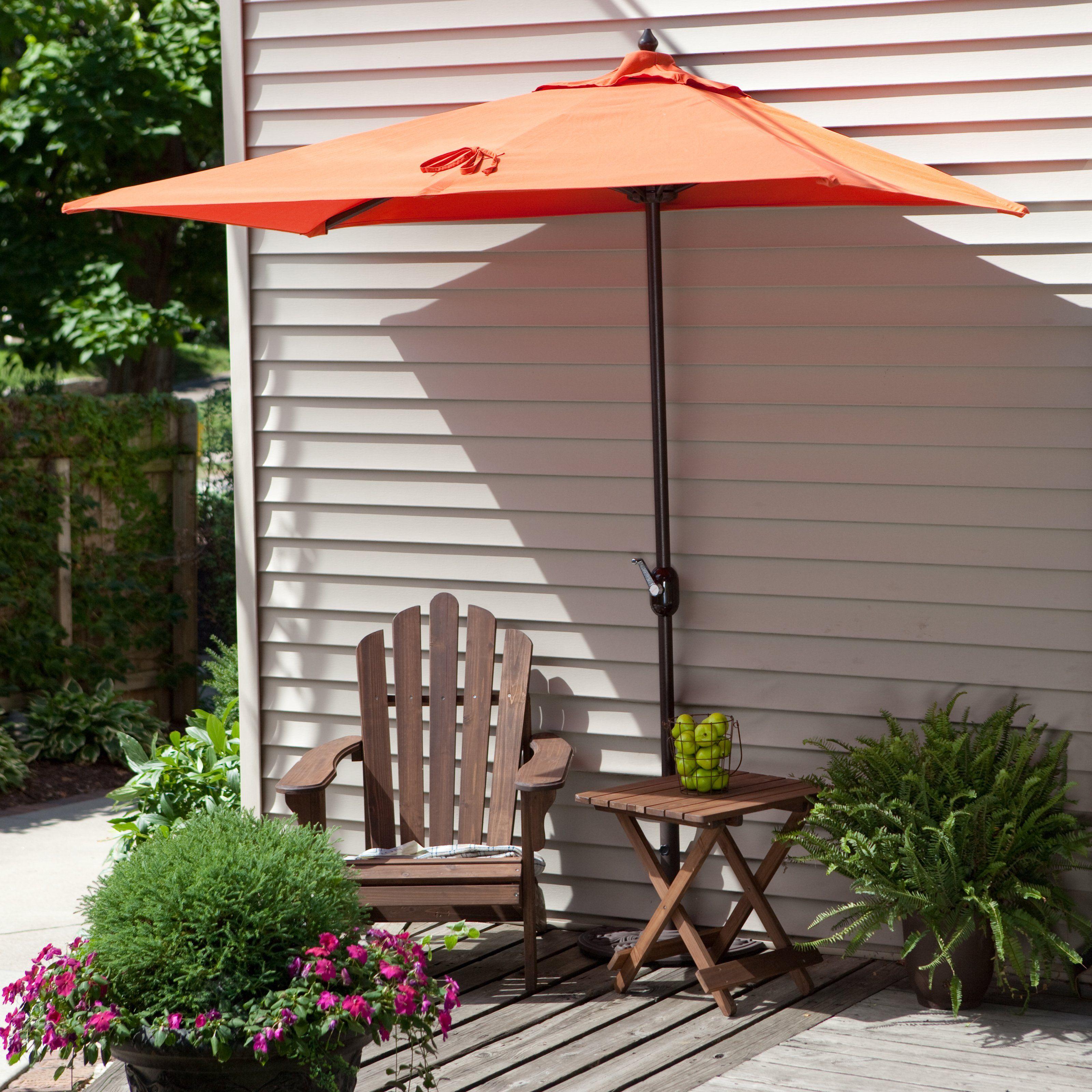 The Perfect Umbrella For Balconies Or To Shade Sliding Patio Doors Coral Coast Via Hayneedle Com Patio Umbrella Patio Rectangular Patio Umbrella