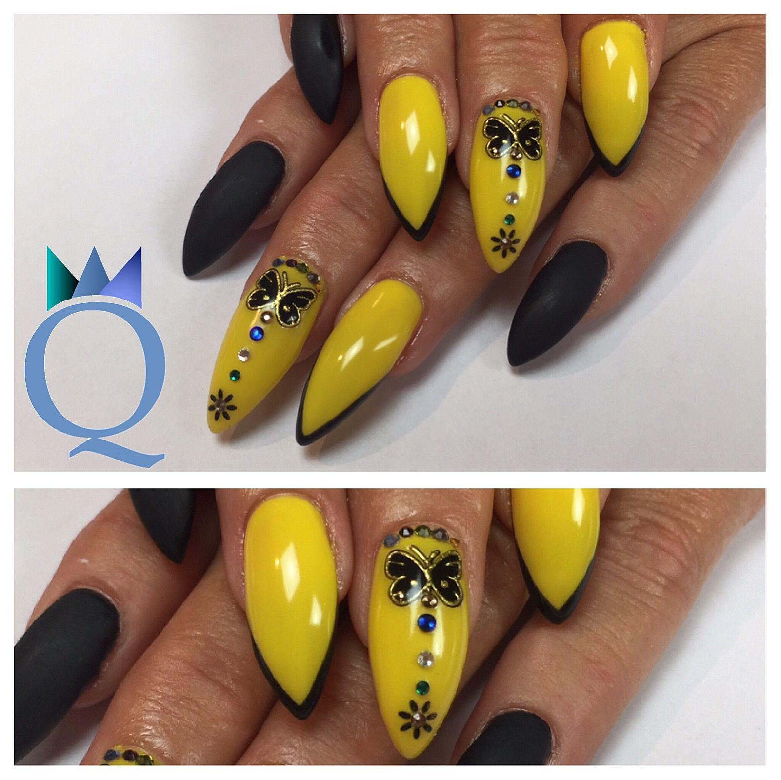 stilettonails #gelnails #nails #yellow #black #stilettos #gelnägel ...