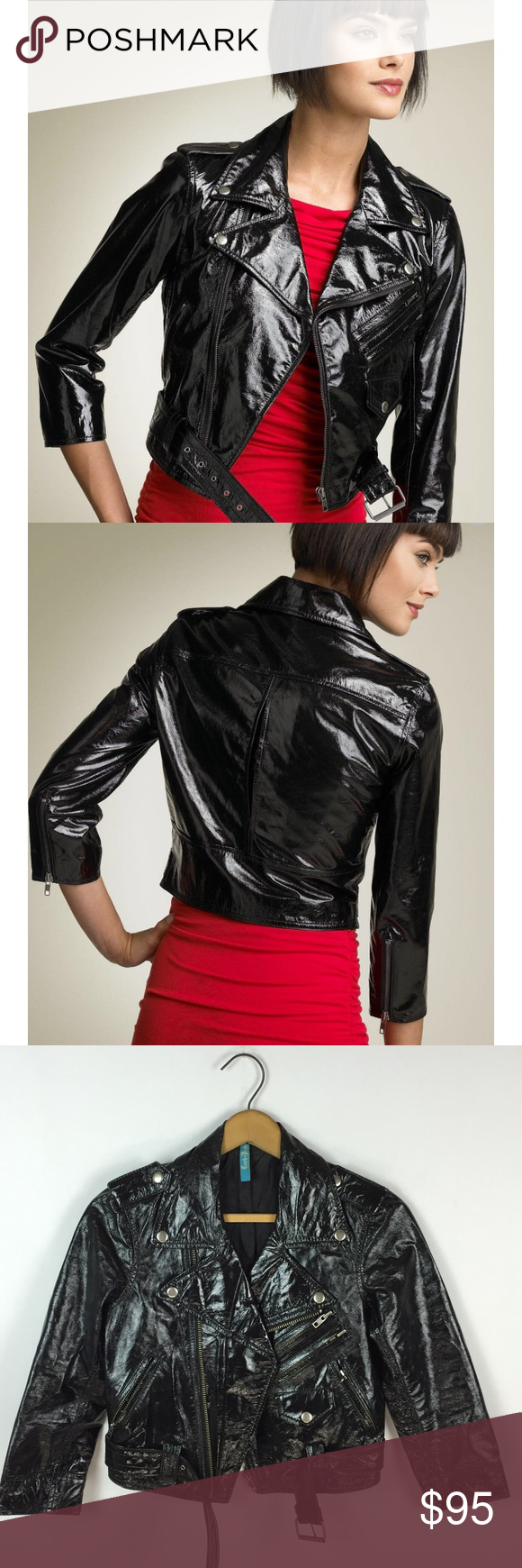 Truth Pride black patent leather Motorcycle jacket