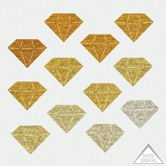Diamond small. Gold glitter clipart gemstone