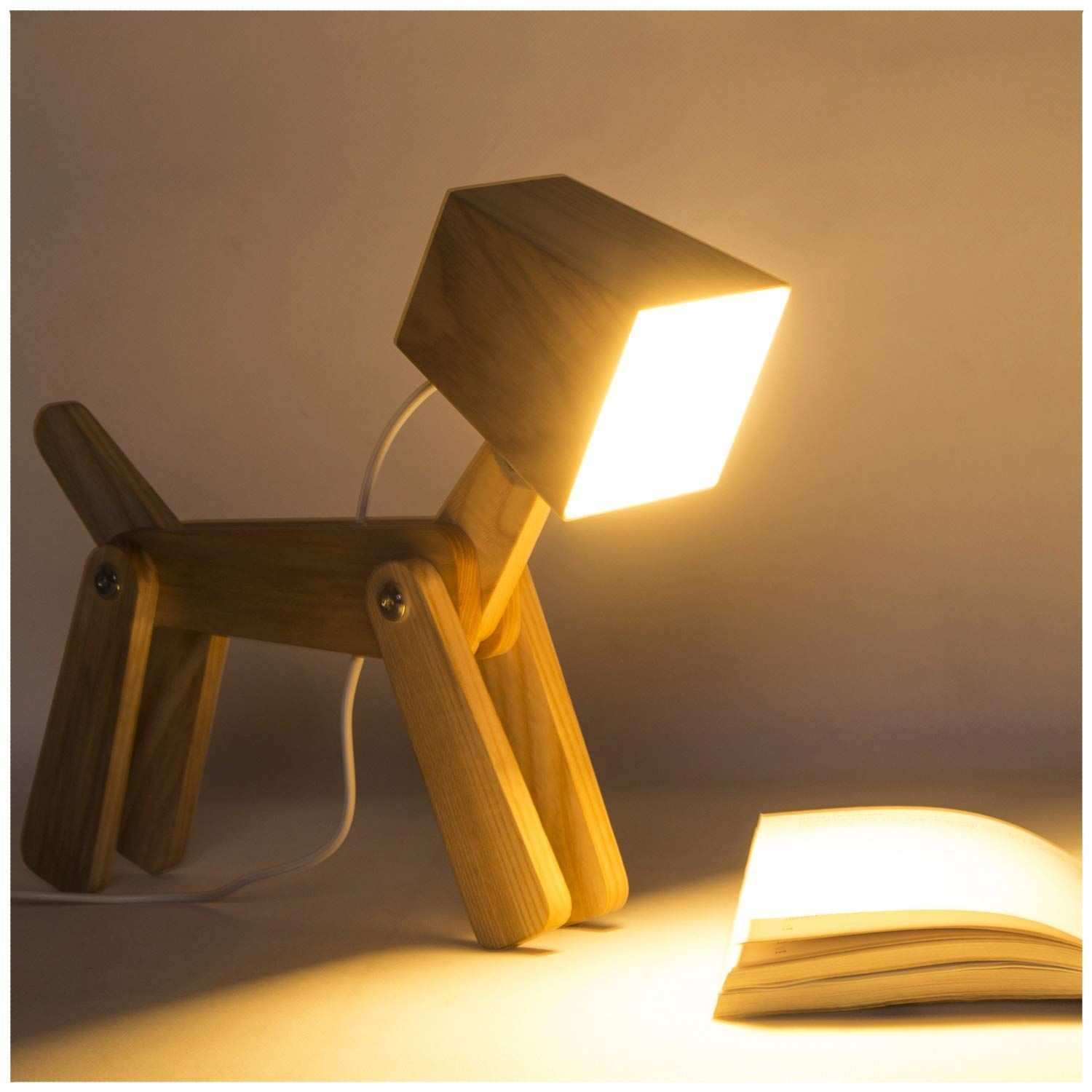 Hroome Modern Design Wood Desk Lamp Led Touch Dimmable Adjustable Animals Adjustable Animals Design Desk Dimmable Hroo In 2020 Dog Lamp Lamp Table Lamp Wood