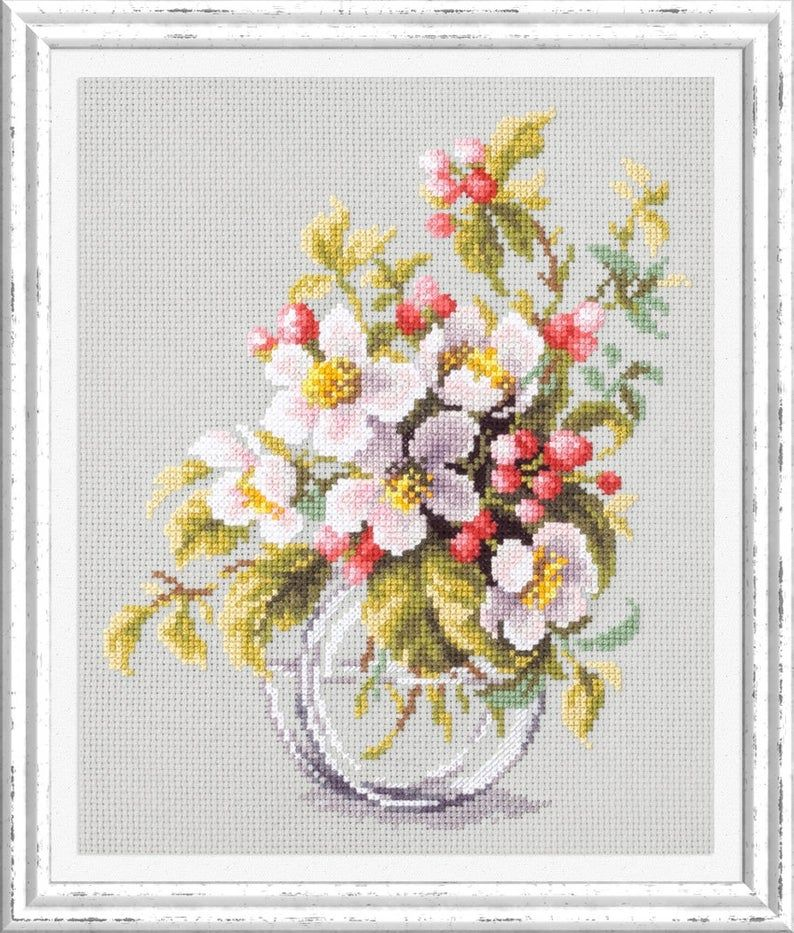"/""Summer Bouquet/"" Cross Stitch Kit MAGIC NEEDLE WONDERFUL NEEDLE 100-004"
