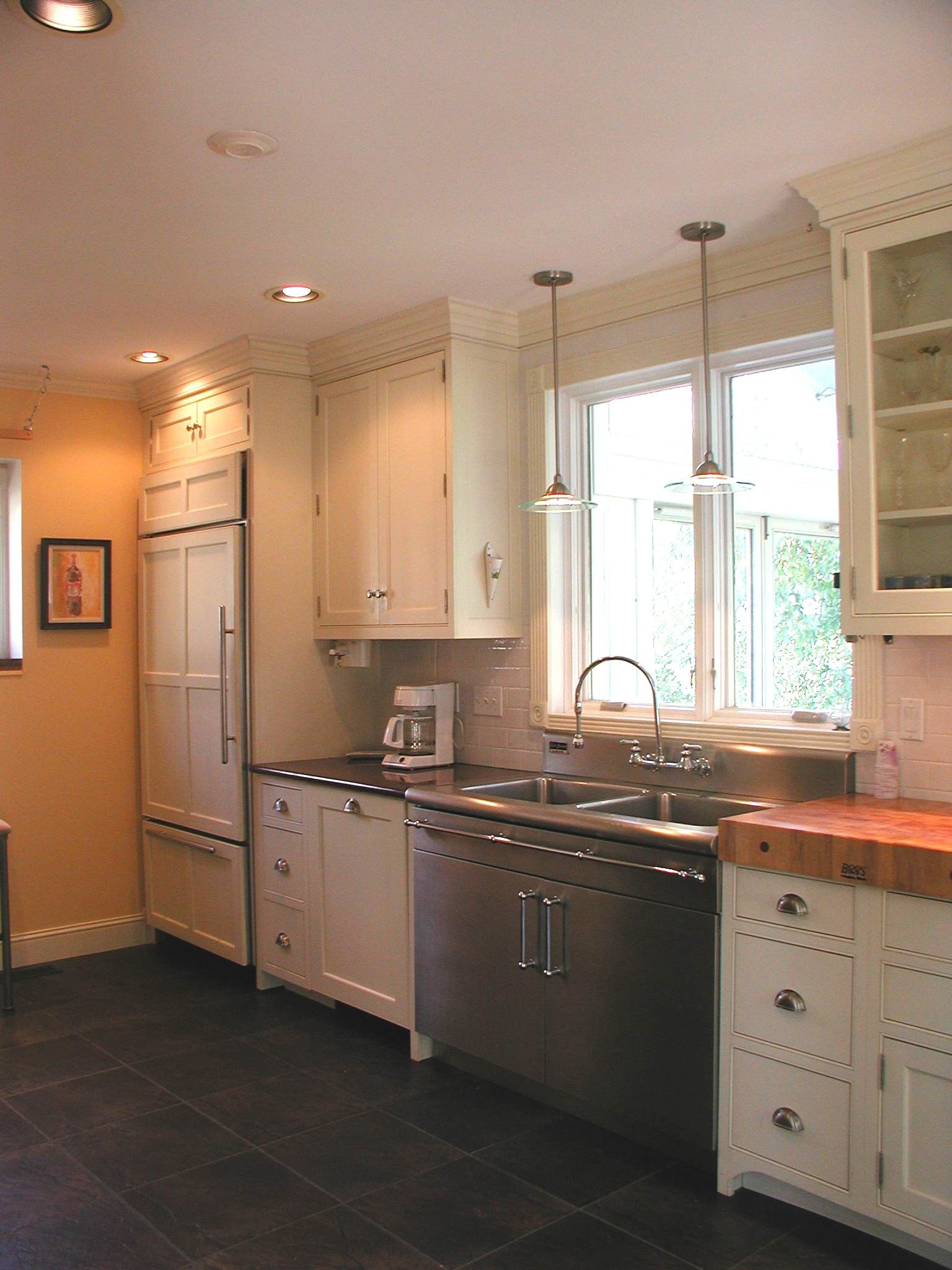 Pendant light over kitchen sink distance from wall vintage kitchen