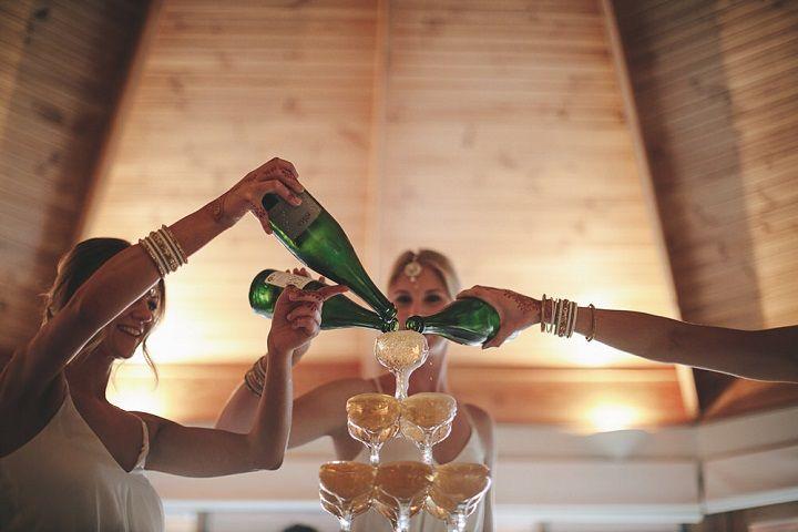 Champagne tower instead of the wedding cake #weddingcelebration #champagnewedding