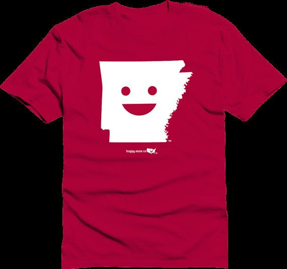 Happy State Co. Arkansas Kids Youth Happy State T-shirt Red razorbacks colors on Etsy, $15.00