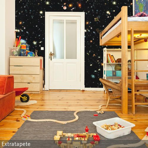 weltraum tapete im kinderzimmer kids rooms and room. Black Bedroom Furniture Sets. Home Design Ideas