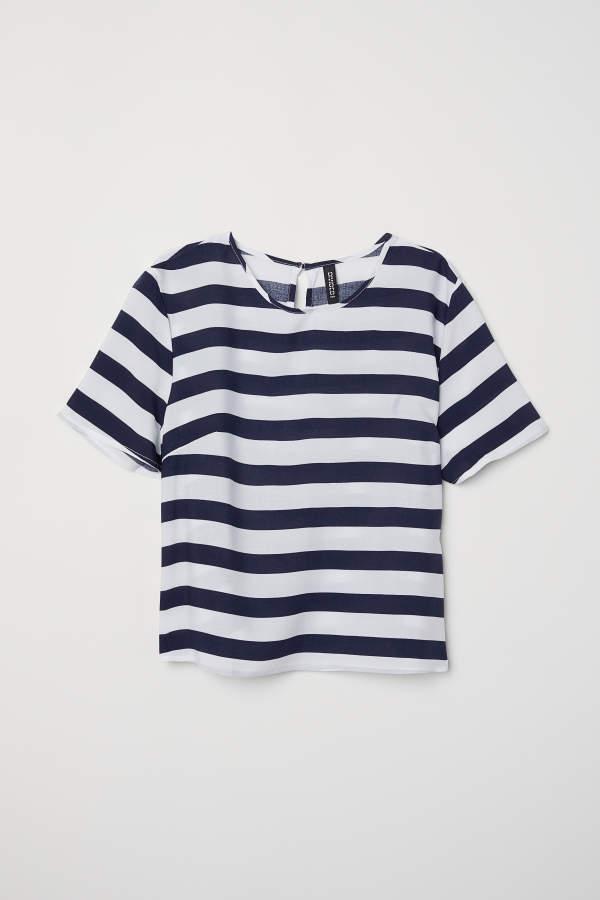 c1ef0d4270f2e5 H&M H & M - Short-sleeved Viscose Blouse - Dark blue/white striped - Women