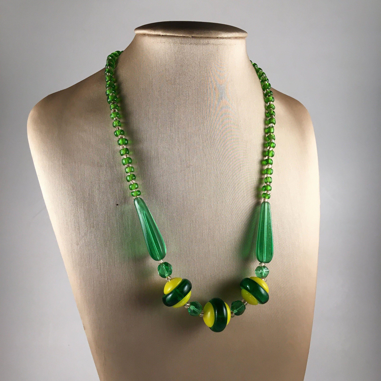 Art Deco Glass Beaded Collar Choker Necklace