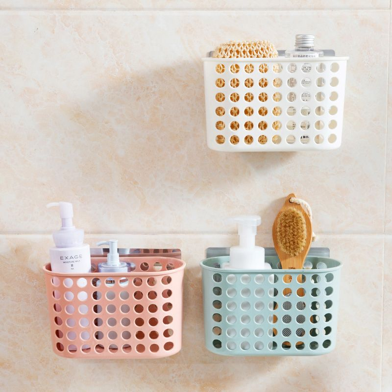 Suction Wall Type Storage Basket Colored Fashion Hollow Plastic Portable Kitchen Bathroom Bath Basket Toiletries D Washing Basket Storage Baskets Bathroom Wall