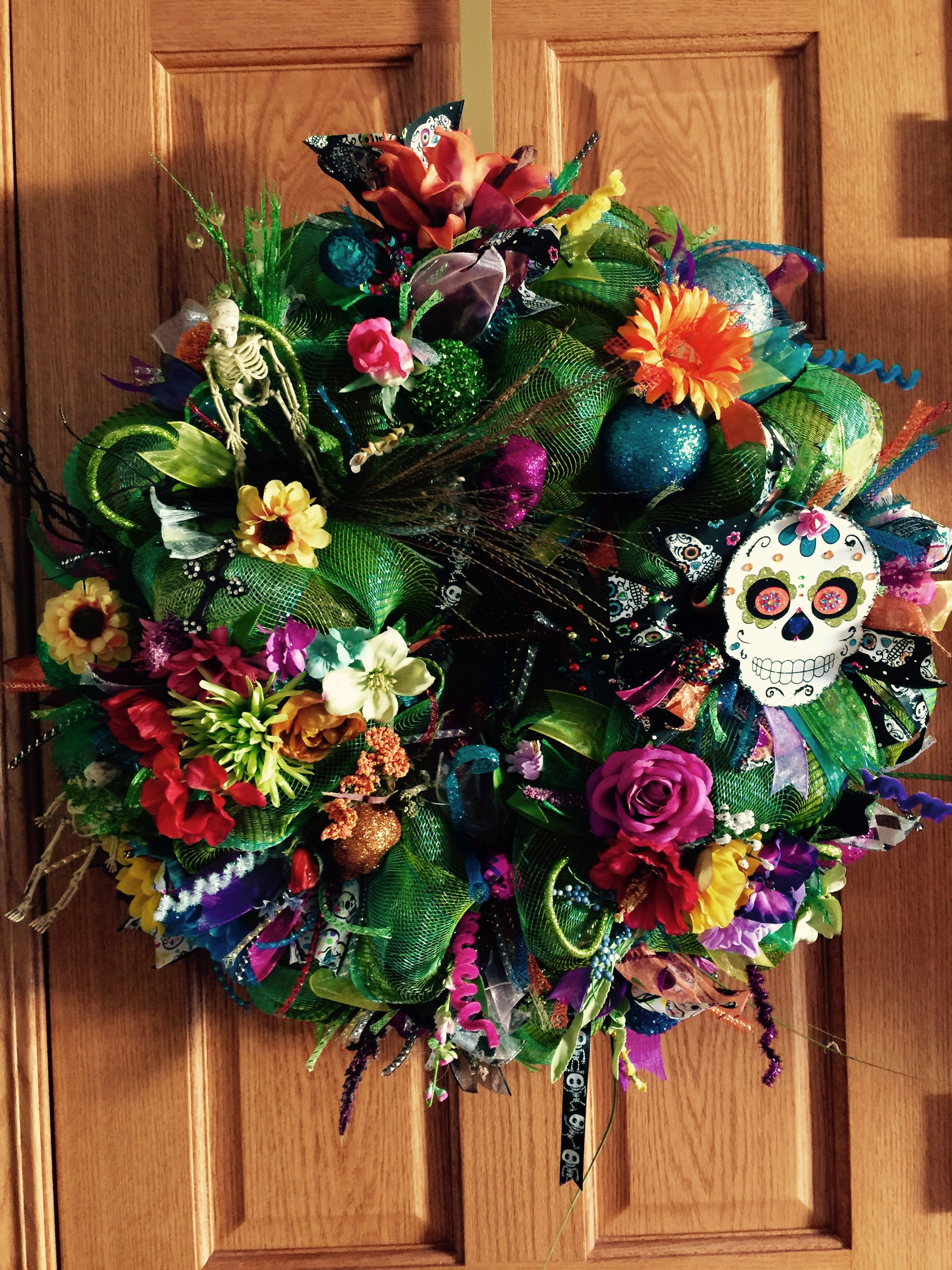 Day Of The Dead Wreath My Wreaths Wreaths Day Of The Dead