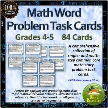 Math Word Problem Task Cards (84) | CrossCurricular Literacy 4-12 ...