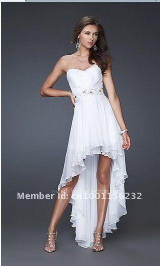 White Chiffon Strapless Dress
