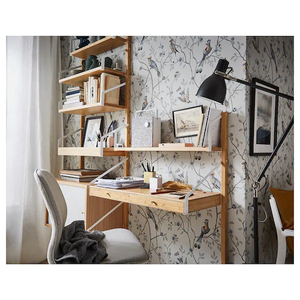 Svalnas Wall Mounted Workspace Combination Bamboo Ikea Desks For Small Spaces Small Spaces Simple Desk