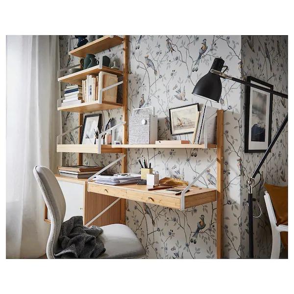 Svalnas Wall Mounted Workspace Combination Bamboo Ikea Desks
