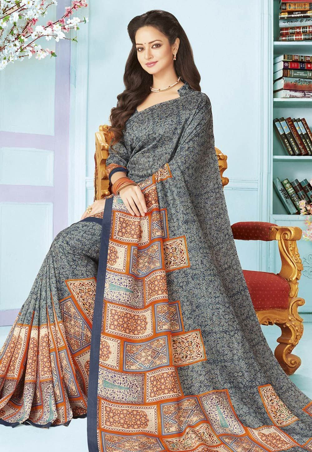 72f5fbe64e2 Buy Gray Art Silk Printed Saree With Blouse 156101 with blouse online at  lowest price from vast collection of sarees at Indianclothstore.com.