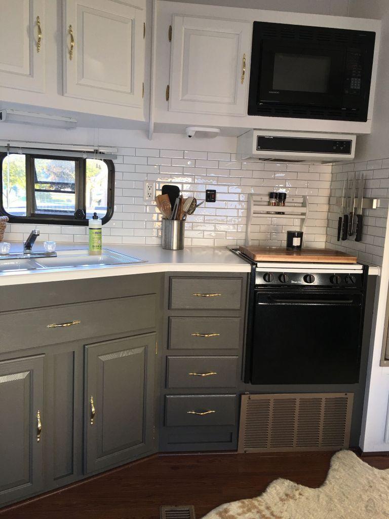 Painting Camper Cabinets 1 Camperism Remodeled Campers Camper Kitchen Camper Makeover