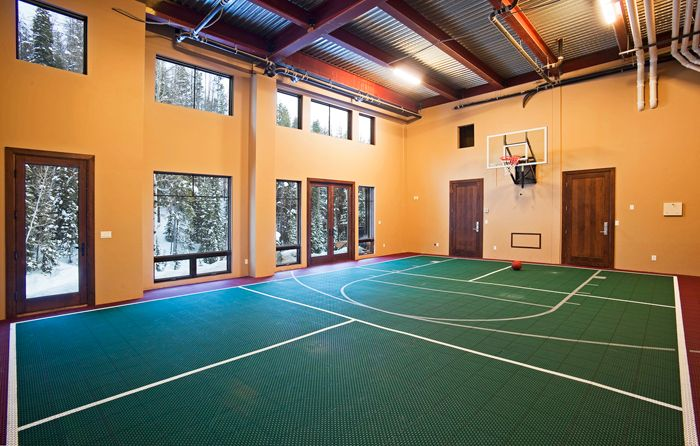 Over The Edge Chalet In Steamboat Springs Mountain Living Indoor Sports Court Indoor Basketball Court Home Basketball Court