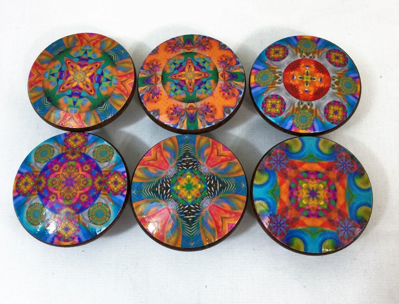 Set Of 6 Kaleidoscope Mandala Oversized Cabinet Knobs