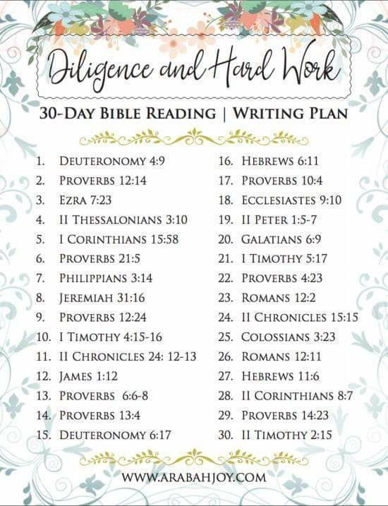 Diligence and Hard Work Scripture Writing Plan | Best of ...