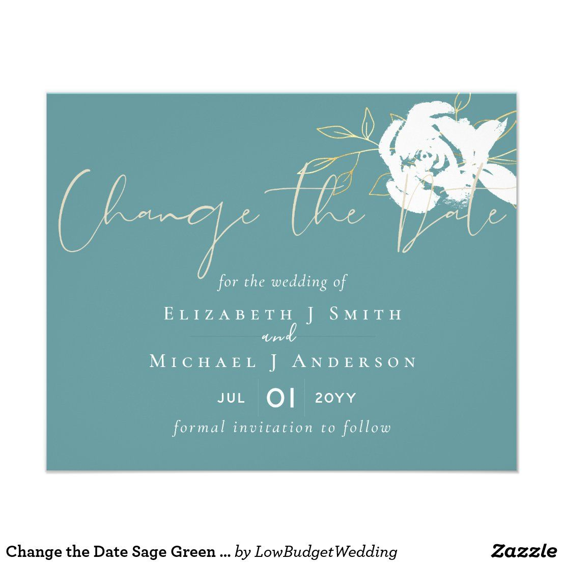 Change The Date Sage Green White Gold Budget Flyer Zazzle Com In 2020 Funny Wedding Cards Bridal Shower Invitation Cards Minted Wedding Invitations