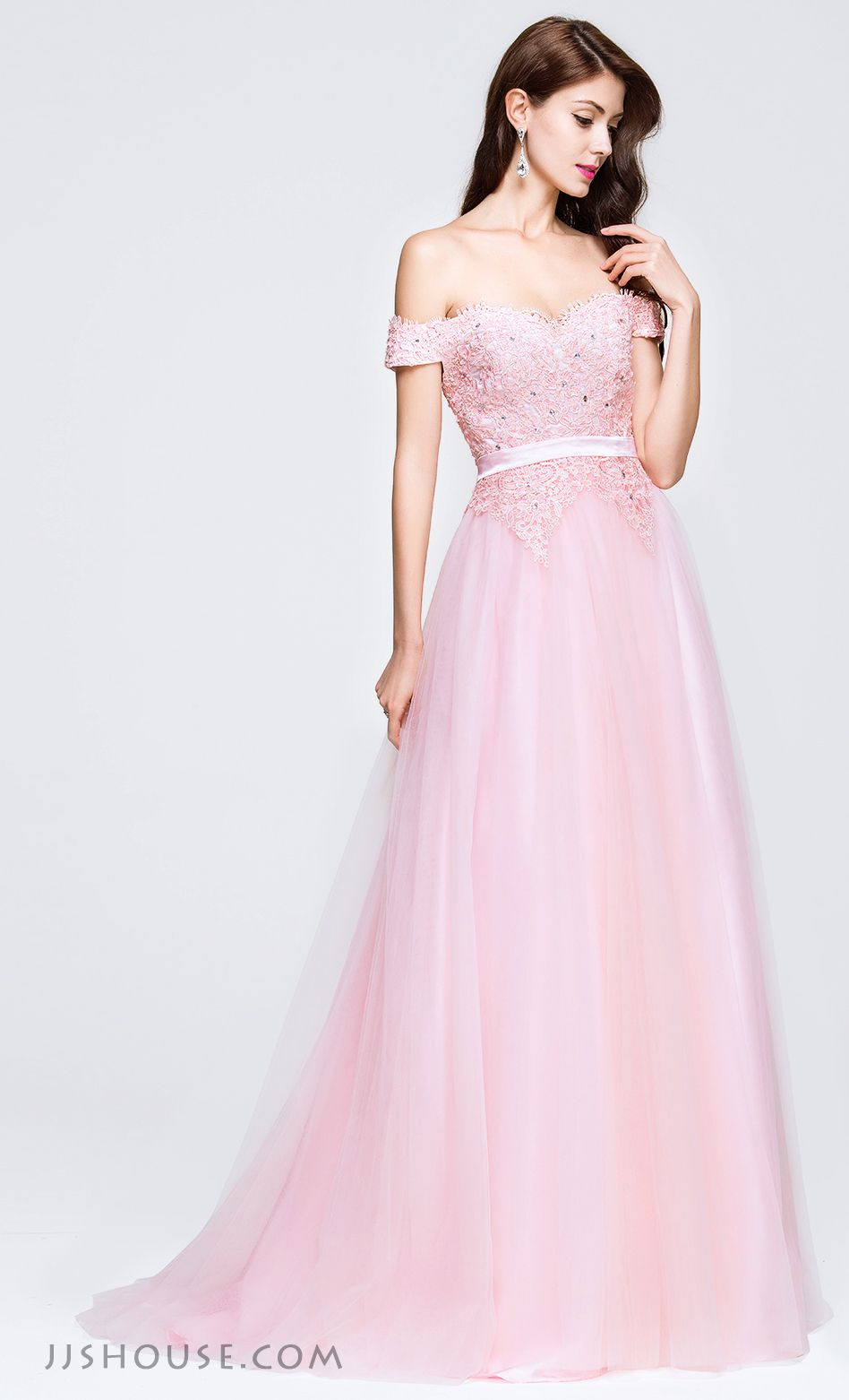 A-Line/Princess Off-the-Shoulder Sweep Train Tulle Prom Dress With ...