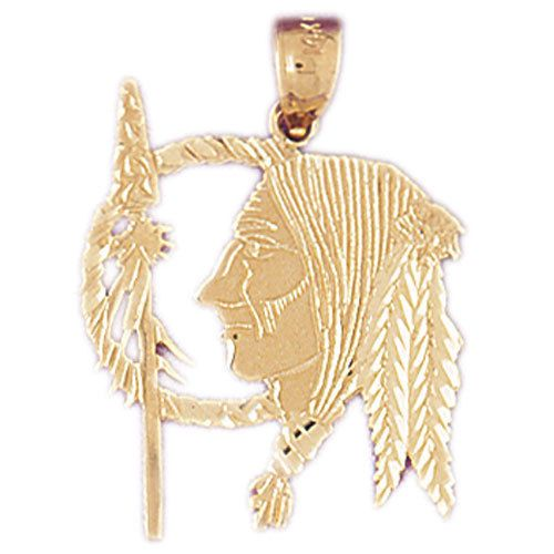 NEW 14k YELLOW GOLD NATIVE AMERICAN INDIAN WISEMAN CHARM PENDANT