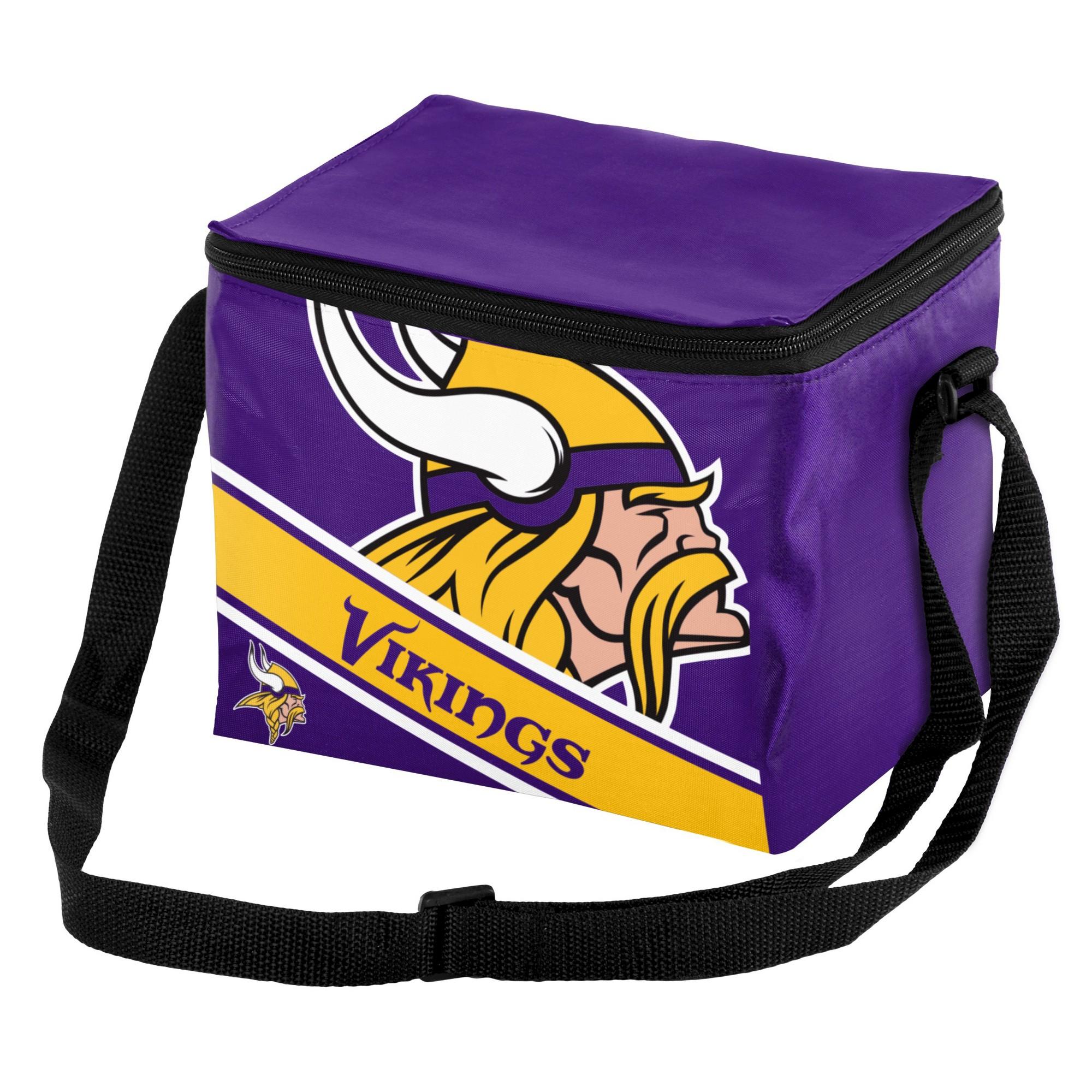 6d8e031b5 NFL Big Logo Stripe 6 Pack Cooler-Minnesota Vikings