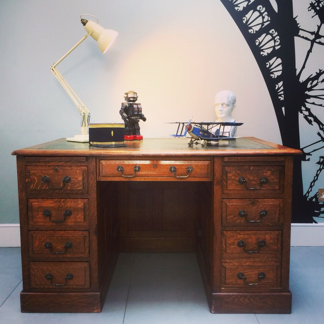 Cool Home Office Idea Vintage 1920 S Desk In Oak With Leather
