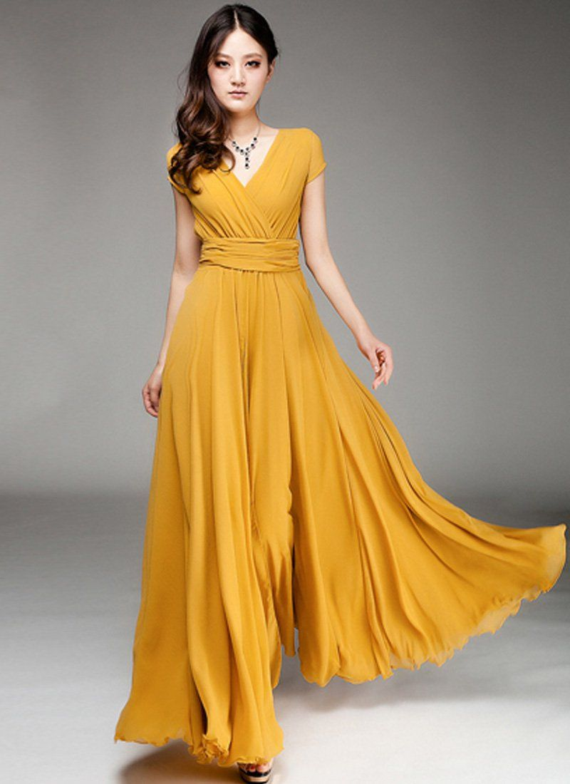 47+ Yellow long dress ideas