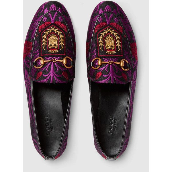 052df4307e1 Gucci Jordaan Floral Jacquard Loafer ( 760) ❤ liked on Polyvore featuring  shoes