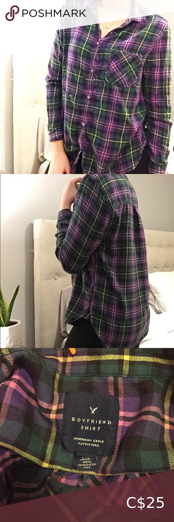 American Eagle Boyfriend Plaid Shirt