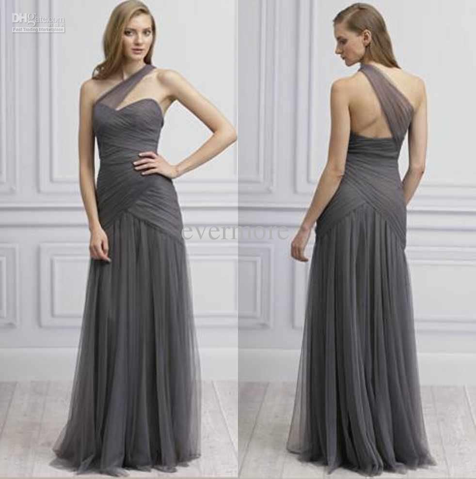 Grey one shoulder tulle a line floor length ruffled long 2015 wholesale grey one shoulder organza a line floor length ruffled long 2013 bridesmaid ombrellifo Image collections