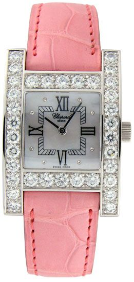 Chopard H diamond 18kt white gold with pink band. Est. cost: $22,250