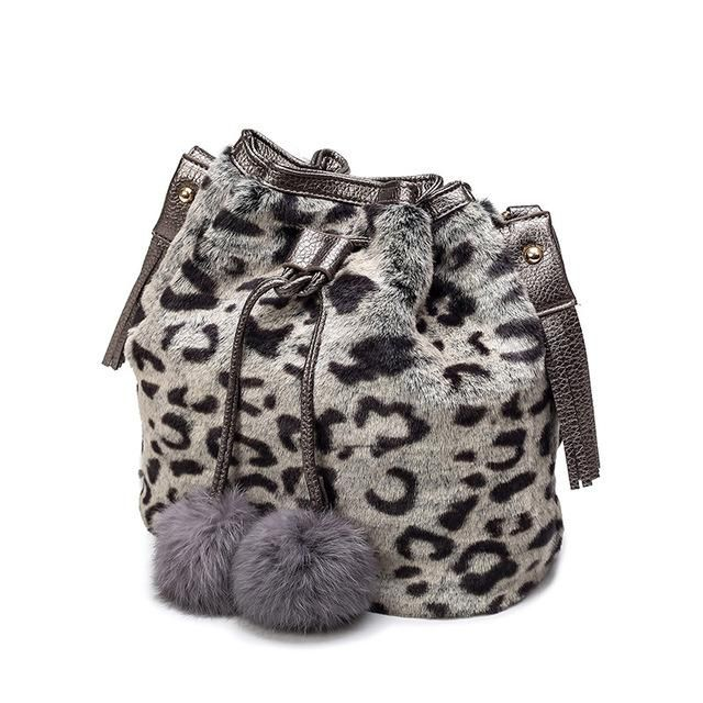 Women Bags Autumn And Winter Rabbit Fur Bucket Fashion Ladies Shoulder Bag  Girl Leopard Pattern Phone aecbd9beb0302
