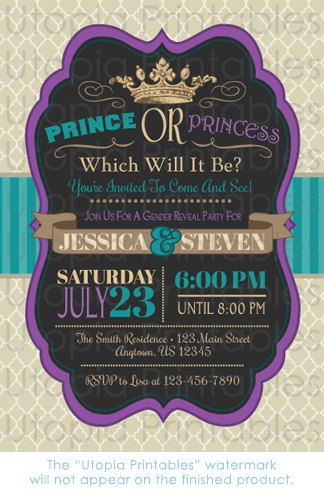 Prince Or Princess Gender Reveal Party Invitation Teal Purple Etsy Gender Reveal Party Invitations Gender Reveal Party Gender Reveal Themes