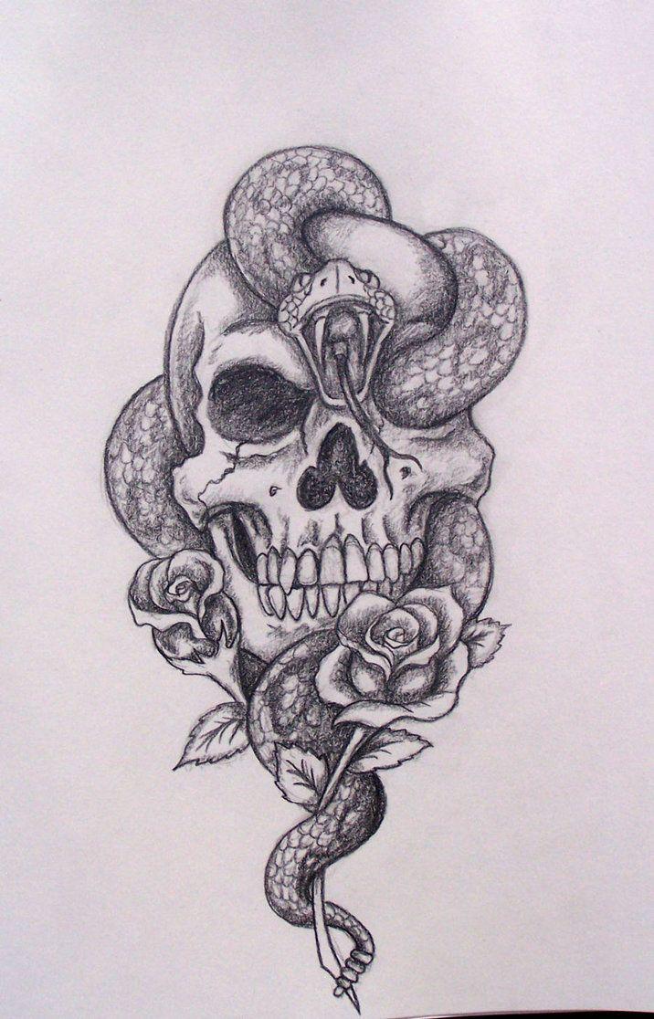 d31714c7601ab Skull snake roses by davart11 on deviantART | Skull's | Tattoo ...