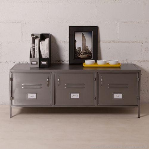 Meuble buffet bas en métal gris 3 portes casiers decoclico Factory ...