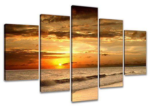Visario 6302 Bild auf Leinwand Strand fertig gerahmte Bilder 5 - wohnzimmer ideen orange
