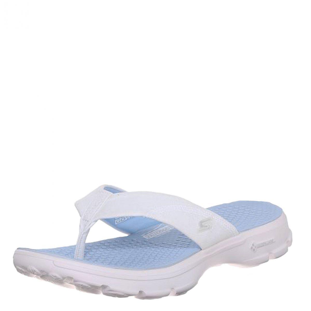 Discount Womens Skechers Go Walk Flip Flops | Black White