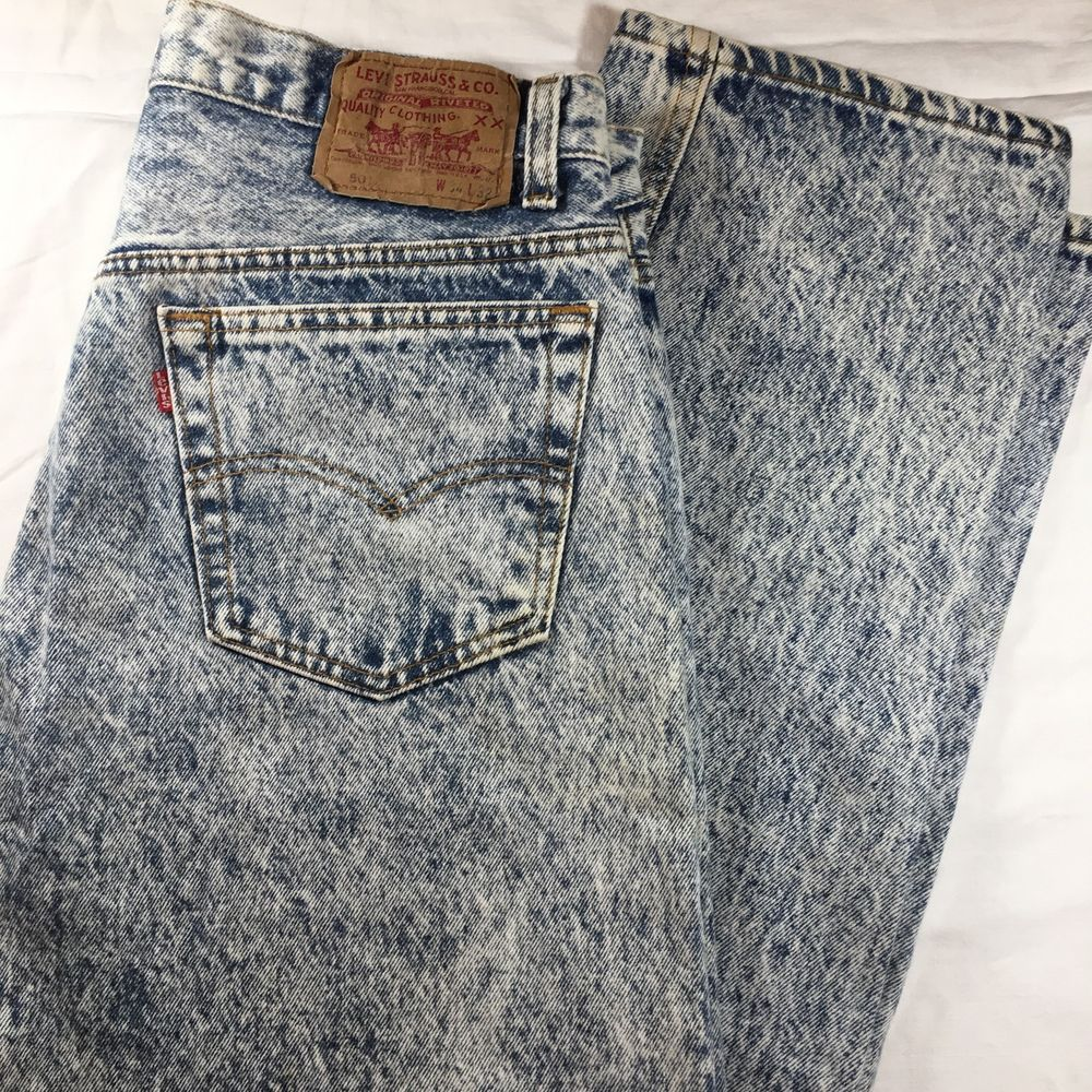 53b5c534 Levi Levi's 501 Acid Snow Washed Jeans VTG Made In USA Button Fly 34 X 32 # Levis #ClassicStraightLeg