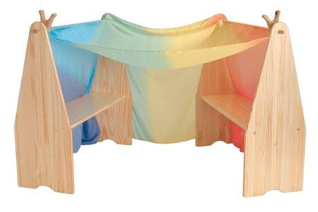 play stand with rainbow play silk