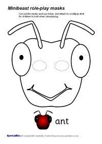 Minibeast Role Play Masks B W Sb1333 Sparklebox Ant